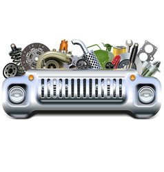car parts with car front end vector image