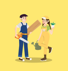 carpenter and gardener are pair of different vector image