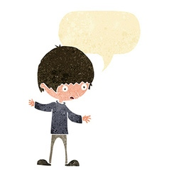 Cartoon boy with outstretched arms with speech vector