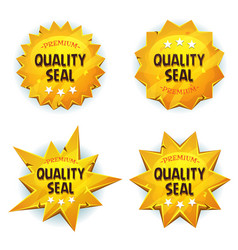 Cartoon gold premium quality seals vector