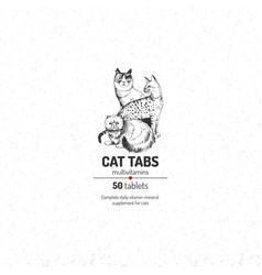 cat tabs logo template vector image