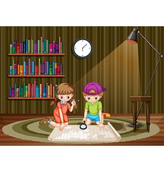 Children looking at map in a room vector