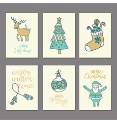 Christmas and new year cards collection vector