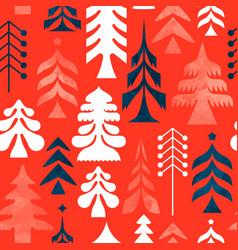 Christmas folk retro pine tree seamless pattern vector