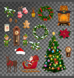 christmas new year holiday objects vector image