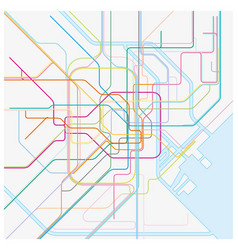 colored metro map of the japanese capital tokio vector image
