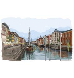 colorful pier in copenhagen vector image