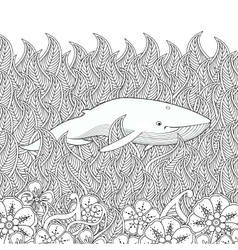 Coloring page with whale in the sea vector