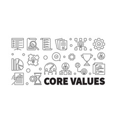 Core values horizontal outline banner vector