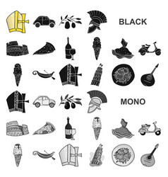 country italy black icons in set collection for vector image