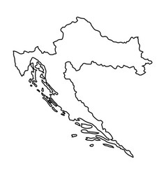 Croatia map of black contour curves of vector