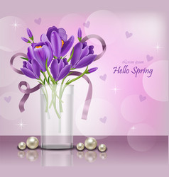 crocus ultra violet flowers bouquet spring vector image