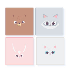 cute cartoon animals portrait wildlife faces bear vector image