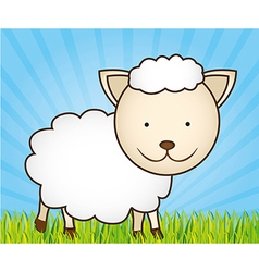 cute cartoon sheep with grass and sky vector image