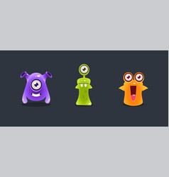 cute colorful monsters funny cartoon aliens game vector image