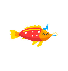 Cute fish in party hat with horn blower little vector