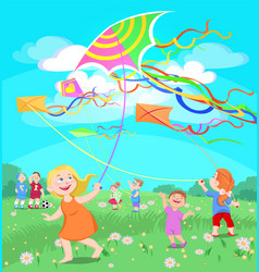 Doodle children play with kites on a clearing vector