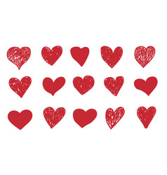 doodle hearts hand drawn red symbols isolated vector image