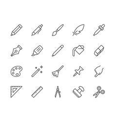 Drawing tools flat line icons set pen pencil vector