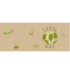 earth day typography cartoonearth vector image vector image