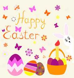 Eastereaster eggs and rabbit vector