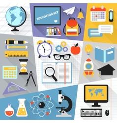 Education flat set vector