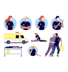 emergency help paramedics characters first aid vector image