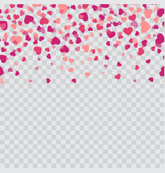 falling pink hearts on transparent background vector image