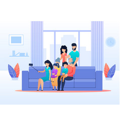 family selfie in living room at home flat cartoon vector image