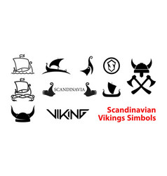 flat scandinavian history emblems isolated on vector image