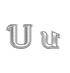 Font tattoo engraving letter U vector