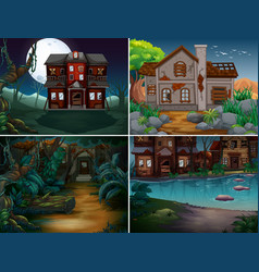 four scenes with haunted houses in forest vector image
