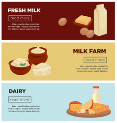 fresh milk from farm and dairy products internet vector image