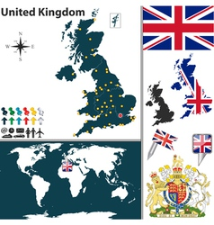 Great Britan map world vector image