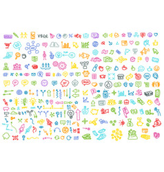 hand draw business activity set doodle business vector image