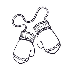 hand drawn doodle two christmas mitten vector image