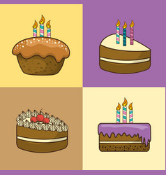 Happy birthday with cakes deco and candles vector