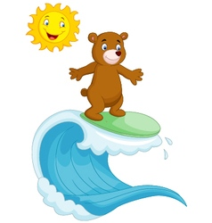 Happy brown bear cartoon surfing vector image