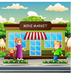 Happy people walking in front mini market buil vector