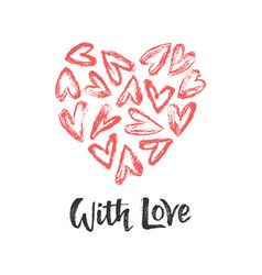 heart with and with love vector image
