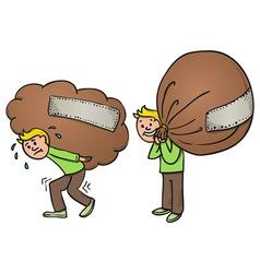 Heavy bag cartoon vector