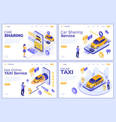 isometric car sharing and online taxi vector image