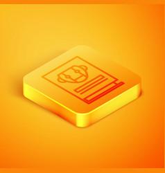 Isometric line user manual icon isolated on orange vector