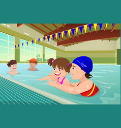Kids having a swimming lesson in indoor pool vector