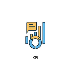 kpi concept 2 colored line icon simple yellow and vector image