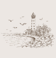 landscape sketch of the lighthouse and the sea vector image