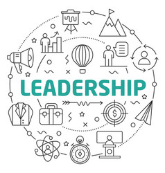 Line flat circle leadership vector