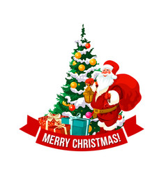 merry christmas santa and tree icon vector image