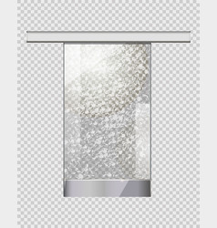 moving transparent door on checkered background vector image
