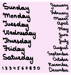 names days of the week and months vector image